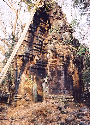 One of the damaged towers at Prasat Chrap.