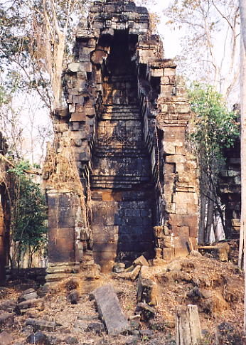 Another damaged tower stands tall at Prasat Chrap.